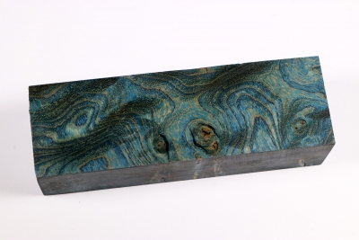 Knife Blank Ash Burl blue stabilized - Stabi1709