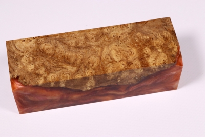 Knife Blank HybridWood Japanese Pagode Tree Burl stabilized - HybrWo1748